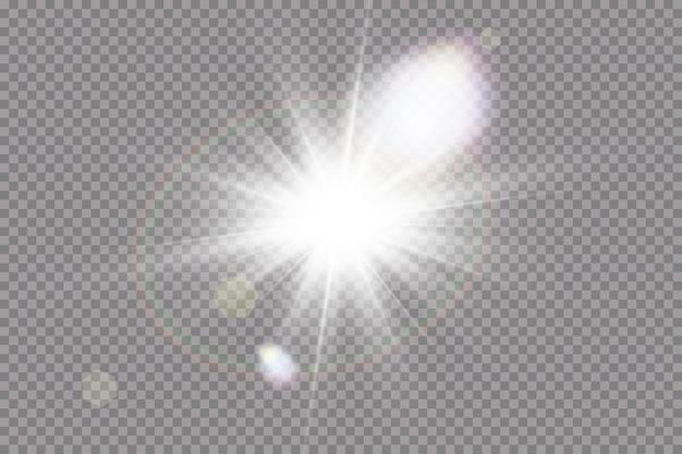 Przezroczysty efekt światła słonecznego ze specjalnym efektem flary błysk słońca z promieniami i światłem punktowym.