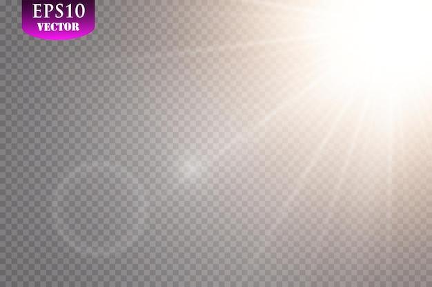 Przezroczysty efekt światła słonecznego ze specjalnym efektem flary.