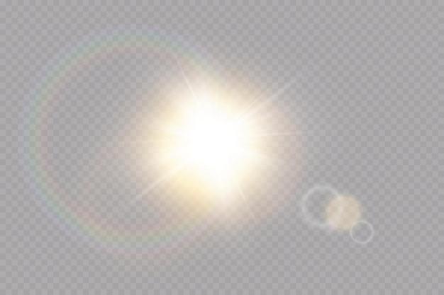 Przezroczysty efekt światła słonecznego ze specjalnym efektem flary