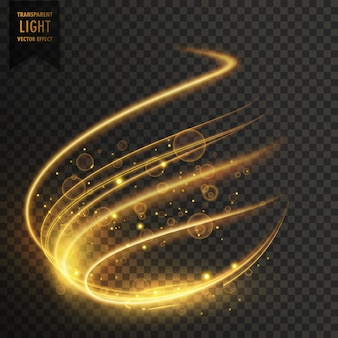 Przezroczysty efekt świetlny w złocistym kolorze
