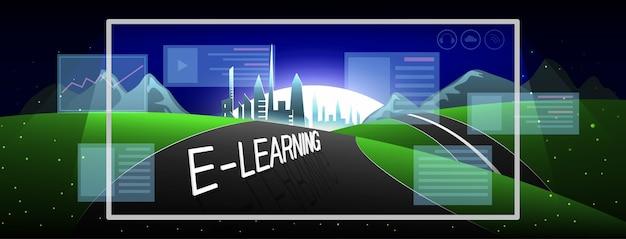 Przezroczysty ekran monitora z napisem e-learning. nauka na odległość.