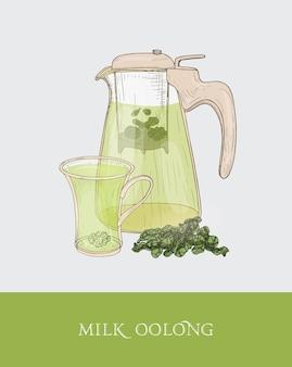 Przezroczysty imbryk lub dzbanek z sitkiem i parującym mlecznym oolongiem, filiżanką i liśćmi herbaty ręcznie rysowane w eleganckim stylu vintage