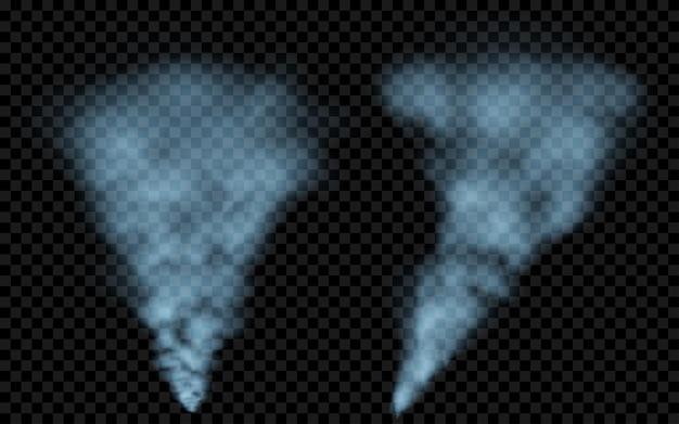 Przezroczysty jasnoniebieski dym. przezroczystość tylko w pliku wektorowym
