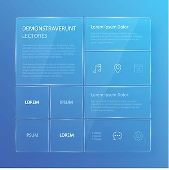 Przezroczysty, niebieski szklisty interfejs użytkownika