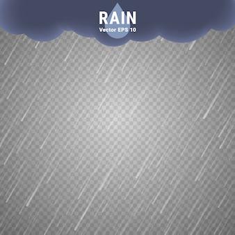Przezroczysty obraz deszczu. wektorowy deszczowy chmurny tło