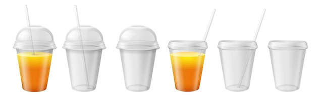 Przezroczysty plastikowy kubek. kubek na wynos z pokrywką i słomką. sok, mrożona herbata i woda napój pojemnik realistyczne makiety wektorowe. ilustracja plastikowy przezroczysty pojemnik z kopułą na herbatę i sok