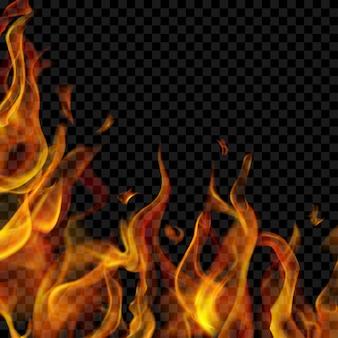 Przezroczysty płomień ognia po lewej i poniżej na przezroczystym tle. do stosowania na ciemnym tle. przezroczystość tylko w formacie wektorowym