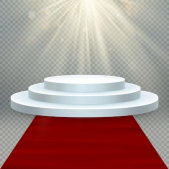 Przezroczysty realistyczny efekt. czerwony dywan i okrągłe podium ze światłami na imprezę lub ceremonię wręczenia nagród.