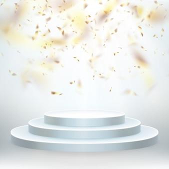 Przezroczysty, realistyczny efekt złotego błyszczącego konfetti latającego. okrągłe podium ze światłami na imprezę lub ceremonię wręczenia nagród.