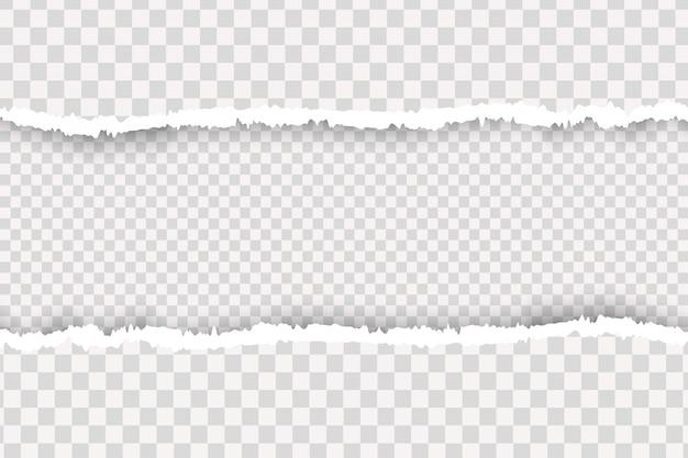 Przezroczysty realistyczny rozdarty papier. kawałek rozdartego, białego realistycznego poziomego paska papieru z miękkim cieniem znajduje się na kwadratowym tle.
