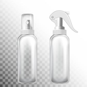Przezroczysty zestaw butelek z atomizerem na białym i transporent tle.