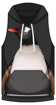 Przód bluzy bez rękawów ze wzorem w pingwina