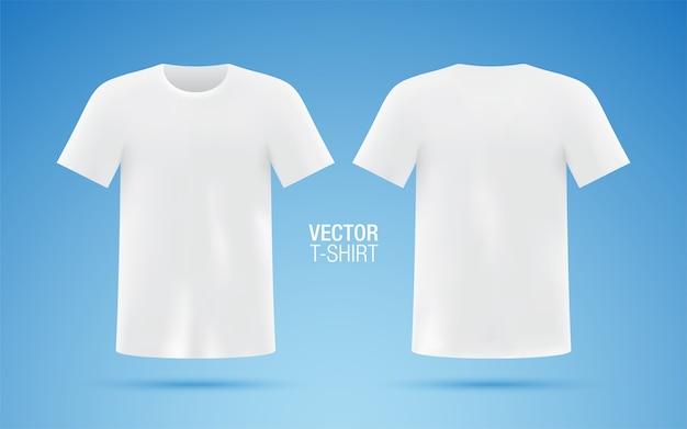 Przód i tył białej koszulki na białym tle na niebieskim tle. szablon koszulki