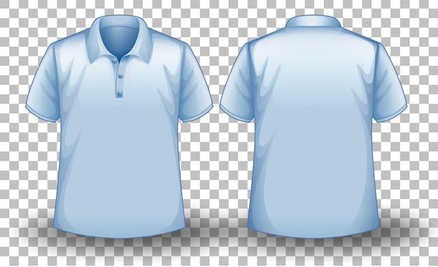 Przód i tył niebieskiej koszulki polo na przezroczystym tle
