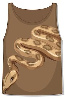 Przód koszulki bez rękawów z wężowym wzorem
