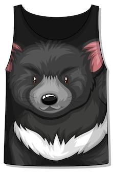 Przód koszulki bez rękawów z wzorem czarnego niedźwiedzia