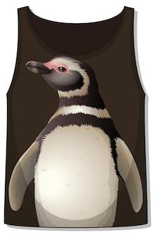 Przód koszulki bez rękawów ze wzorem pingwina