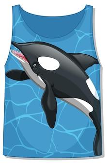 Przód koszulki bez rękawów ze wzorem wieloryba orki