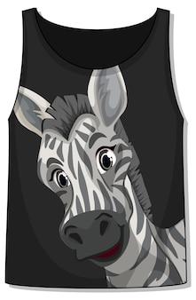 Przód koszulki bez rękawów ze wzorem zebry