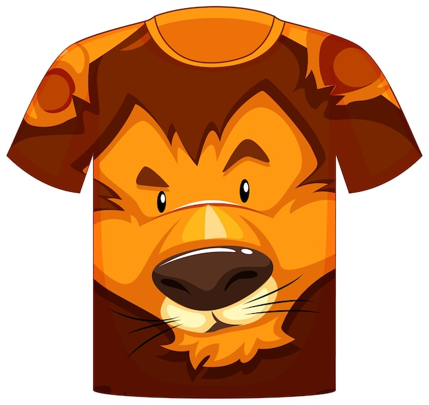 Przód koszulki z motywem twarzy lwa