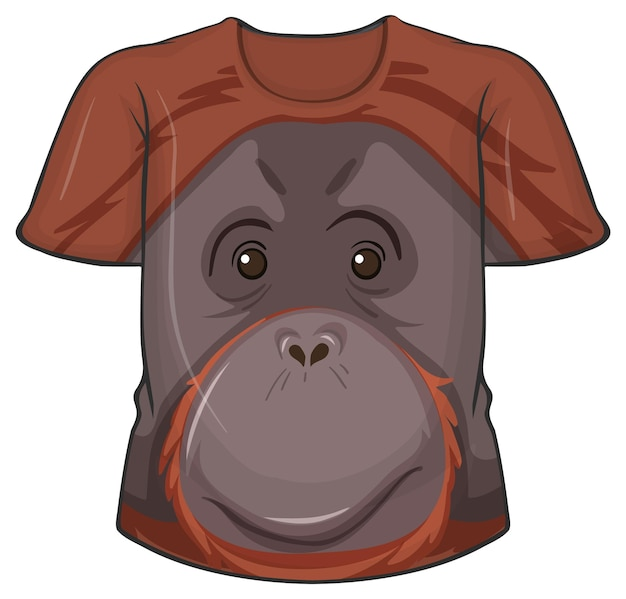 Przód koszulki z motywem twarzy orangutana