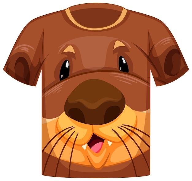 Przód koszulki z przodem we wzór wydry