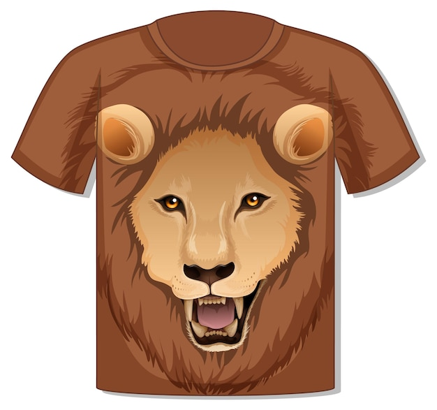 Przód koszulki z szablonem twarzy lwa