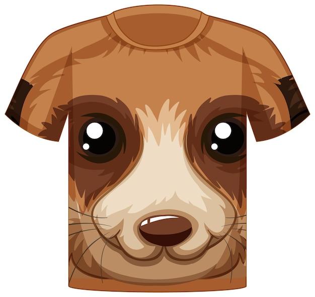 Przód koszulki z twarzą w uroczy zwierzęcy wzór