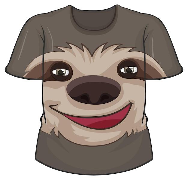 Przód koszulki ze wzorem leniwca