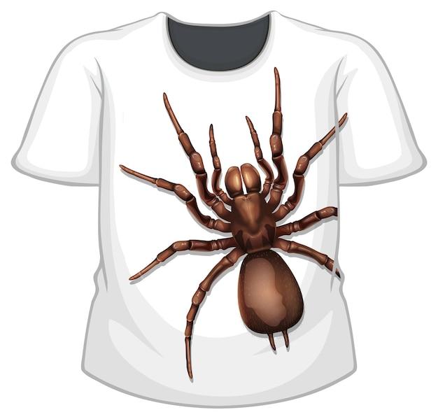 Przód koszulki ze wzorem w pająki