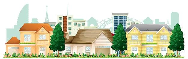 Przód podmiejskich domów na białym tle