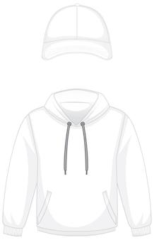 Przód podstawowej białej bluzy z kapturem i czapki na białym tle