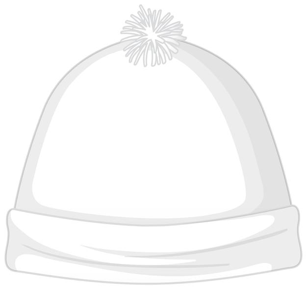 Przód podstawowej białej czapki beanie na białym tle