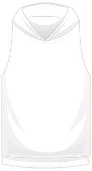 Przód podstawowej białej krótkiej kurtki z kapturem na białym tle
