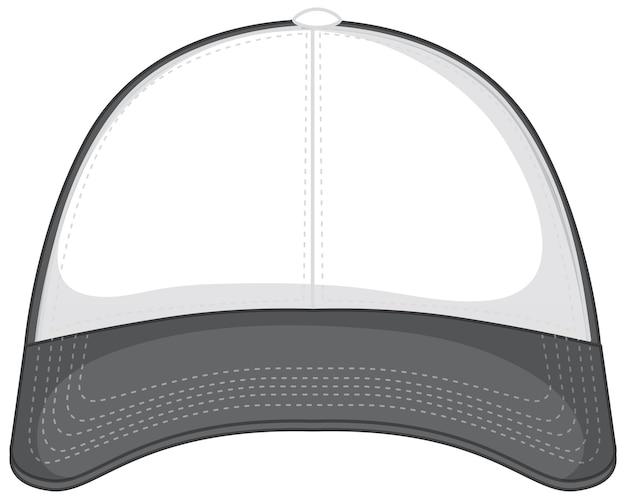 Przód podstawowej białej szarej czapki z daszkiem na białym tle
