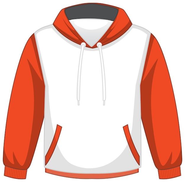 Przód podstawowej biało-pomarańczowej bluzy z kapturem na białym tle
