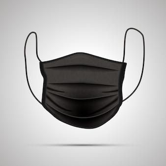 Przód realistycznej czarnej maski medycznej na szaro