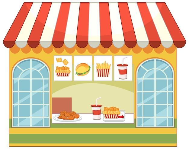Przód sklepu fast food na białym tle