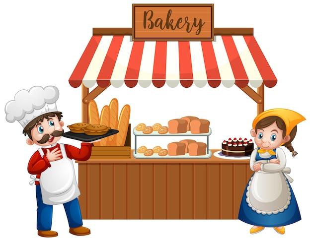 Przód sklepu piekarniczego z piekarzem na białym tle
