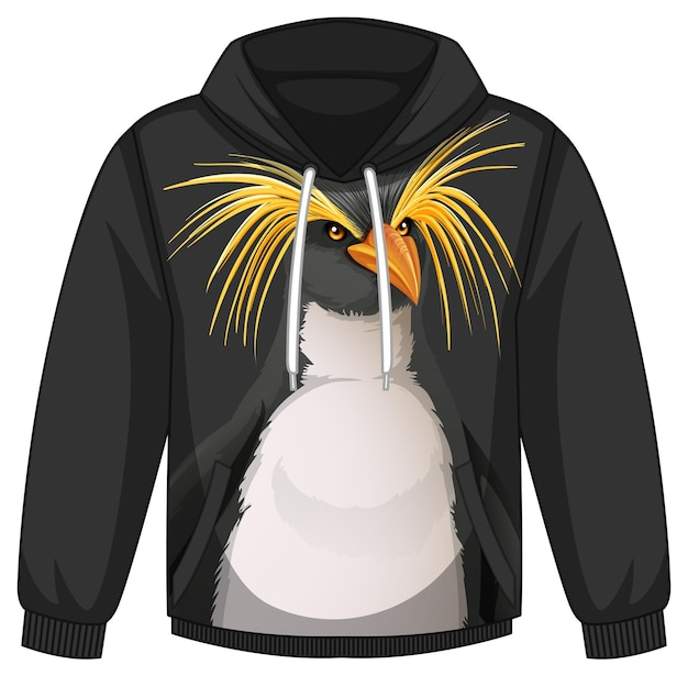 Przód swetra z kapturem we wzór pingwina