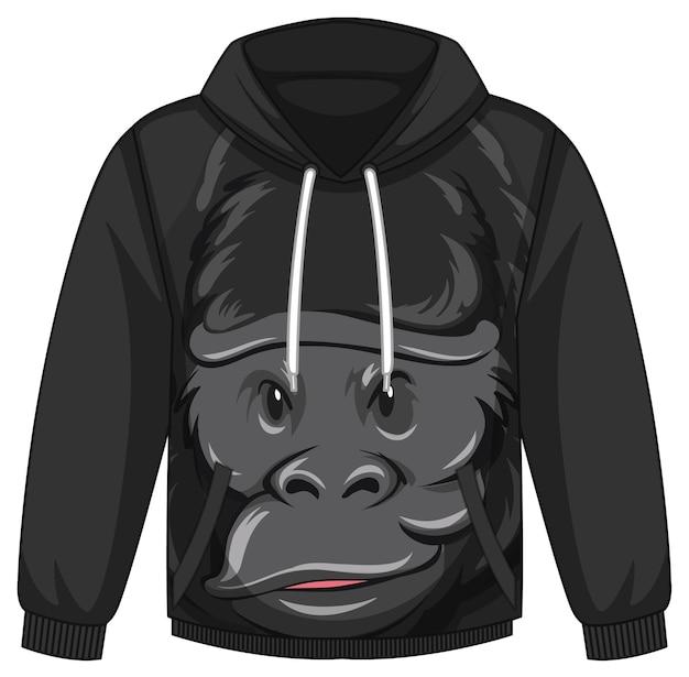 Przód swetra z kapturem z motywem goryla