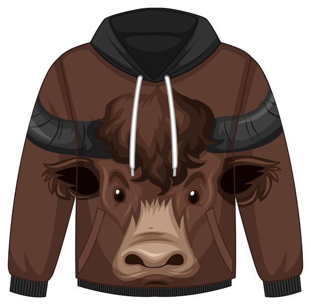 Przód swetra z kapturem z motywem twarzy byka