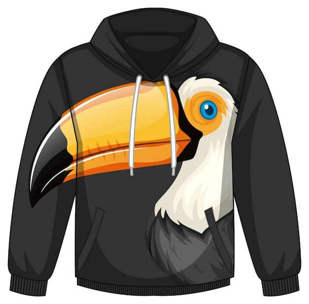 Przód swetra z kapturem z wzorem tukana