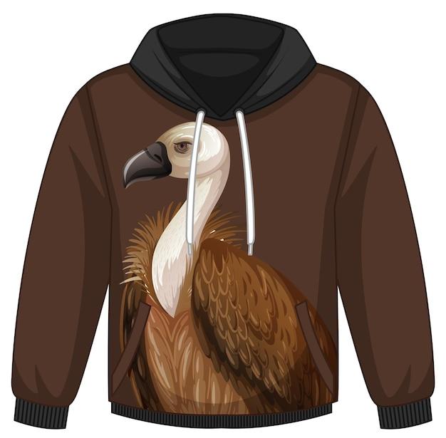 Przód swetra z kapturem ze wzorem sępów