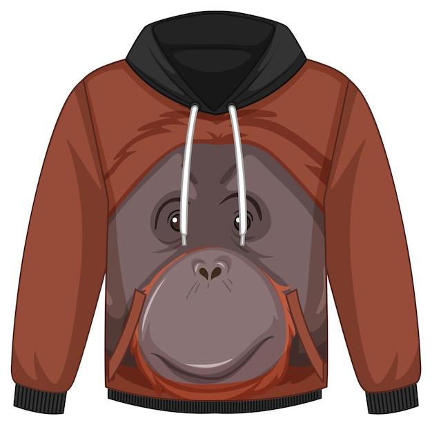 Przód swetra z kapturem ze wzorem w orangutan