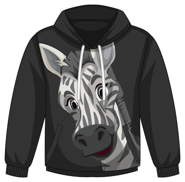 Przód swetra z kapturem ze wzorem zebry