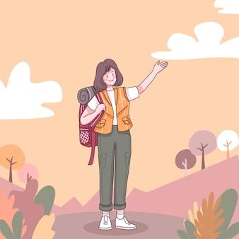 Przód szczęśliwej przygodowej kobiety z plecakiem do wędrówek i wspinaczki w postaci z kreskówek, płaska ilustracja