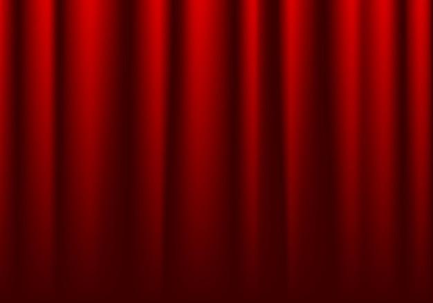 Przód zamkniętej czerwonej kurtyny teatralnej tle