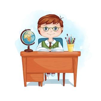 Przy biurku siedzi poważny chłopak w okularach.