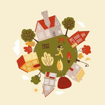 Przybądź okrągłą planetę z zielonymi drzewami, przytulnymi domkami i charakterem.